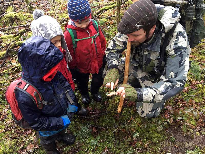 Examining mysterious bones on the side of the trail...