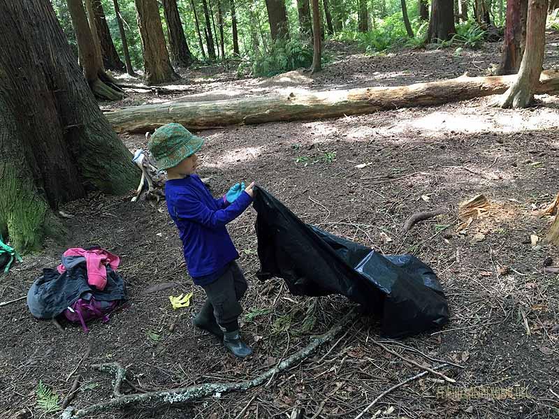 Picking up trash at Owl Pellet Plateau!
