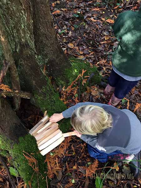 Making a Cedar plank fairy house in honor of Indigenous People's Day