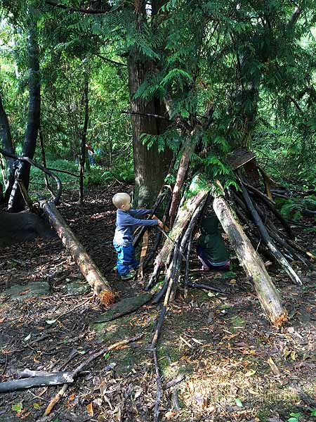 Working on our shelter