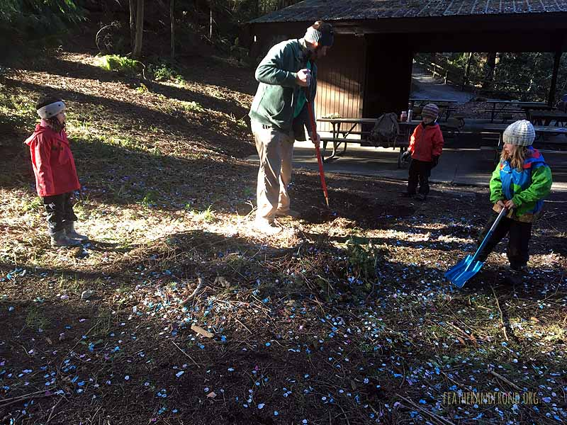 Someone had a party at the park and left lots of blue confetti.  The Fox Walkers helped clean it up!