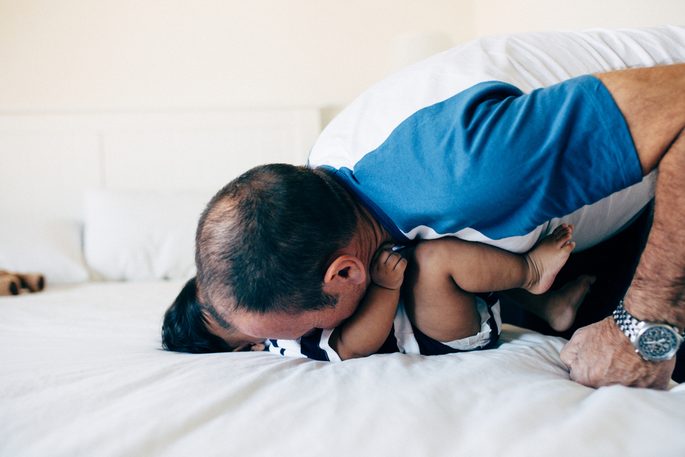 Dad and baby lifestyle photography session in home in Sydney Australia