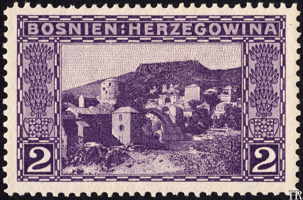 "2 heller - ""View of Mostar"""