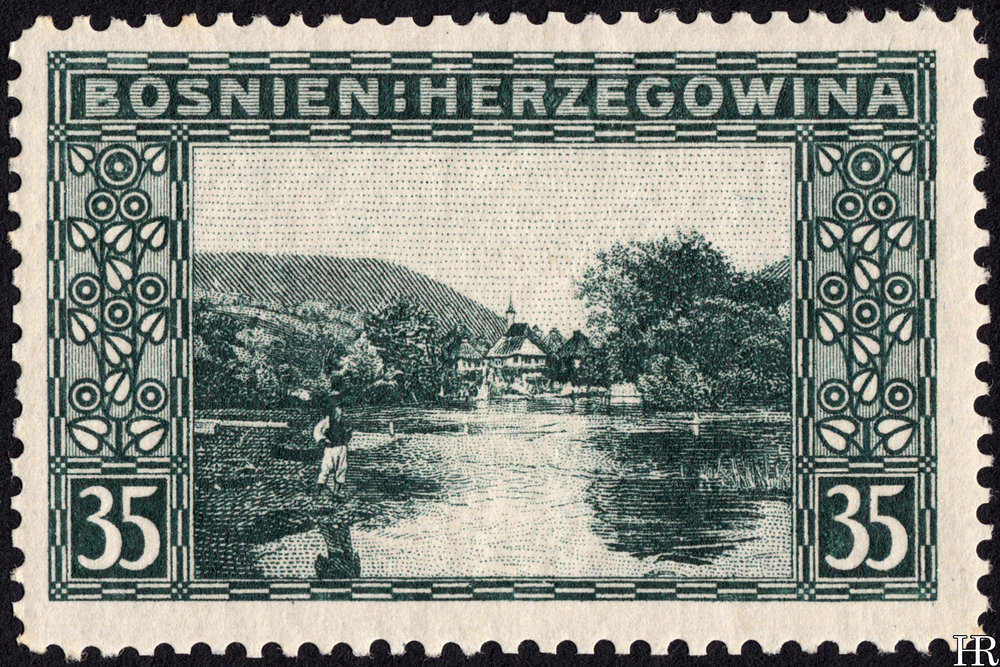 "35 heller - ""Village and Lake Jezero"""
