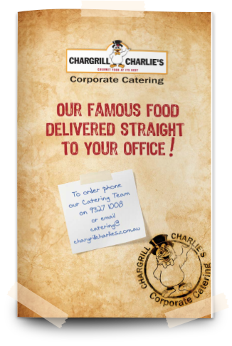 OFFICE CATERING MENU - Charlie's has set menus we can provide you with or we can custom make a menu to suit your event or theme.We've been doing this for a long time so we know the best way to keep our great quality food hot and served in the best way to achieve the best result.
