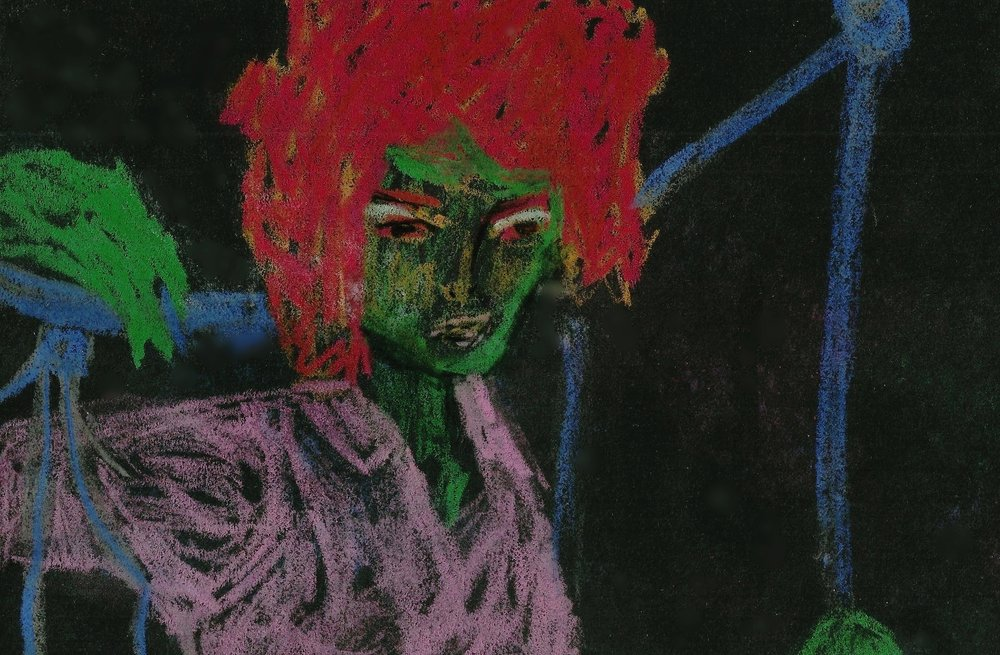 Green Lady with Red Wig