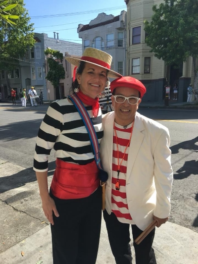 Courtney and Jimmy Biala before a parade in San Francisco 2018.