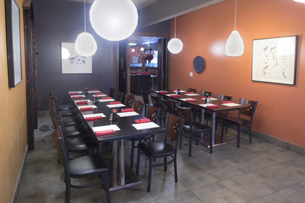 Our private dining area can seat up to 30 and the tables can be arranged into different configurations