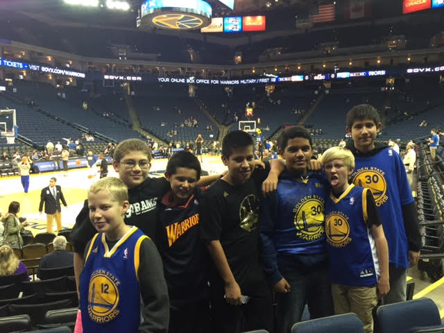 Middle school boys at Warriors game.