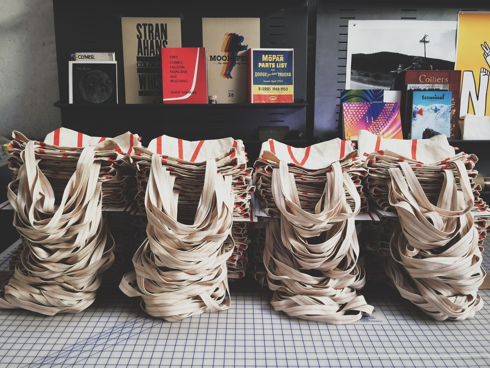 Custom tote bags for the design conference, WeMake Celebrates.