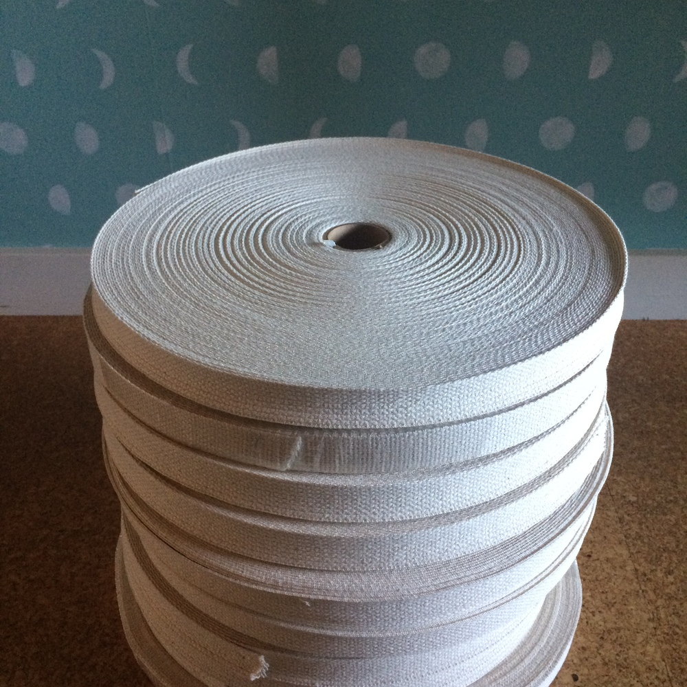 Many, many yards of cotton webbing for handles.