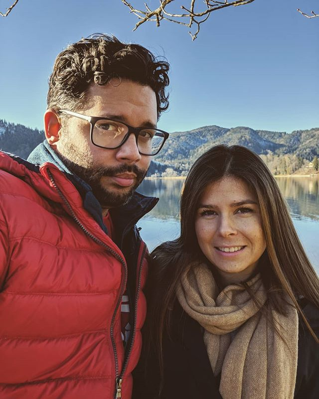 My wife and I on the 2nd day of Christmas. #2nddayofchristmas #partridgeinapeartree #hiking #mountains #oberbayern #schliersee #family