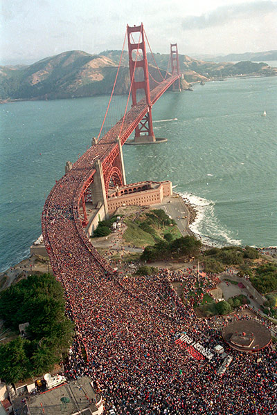 several hundred thousand jams the deck of the Golden Gate Bridge