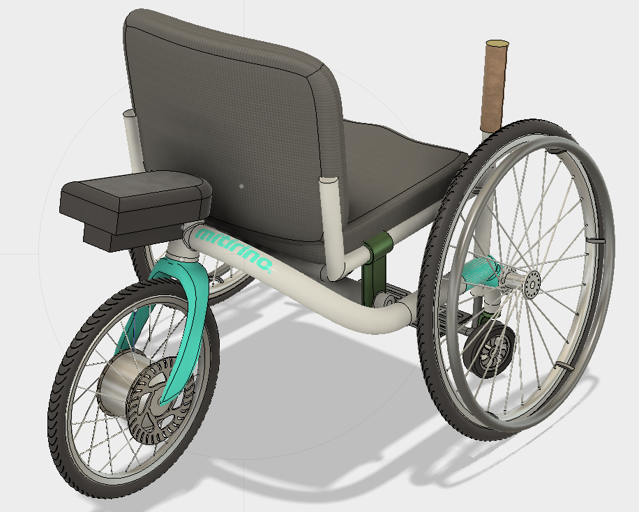 - The wheels and the seat from your manual wheelchair get mounted onto Mitirino's frame and off you go! When not installed, Advance is easy to store and transport, making air travel and venturing into foreign places a more feasible proposition.