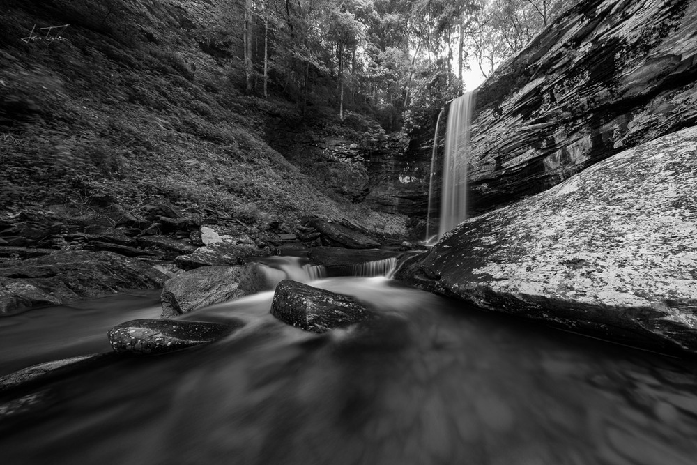 Lower Falls Hills Creek (B&W) - West Virginia