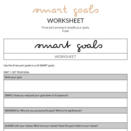 The Minimalist Guide to SMART Goals Yolanda V Acree – Smart Goals Worksheet
