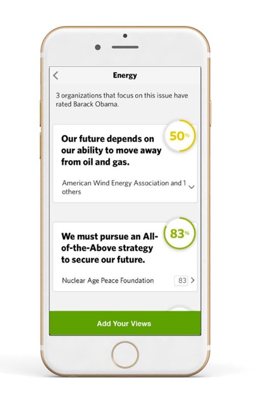 Screenshot of an area of the app focused on energy issues