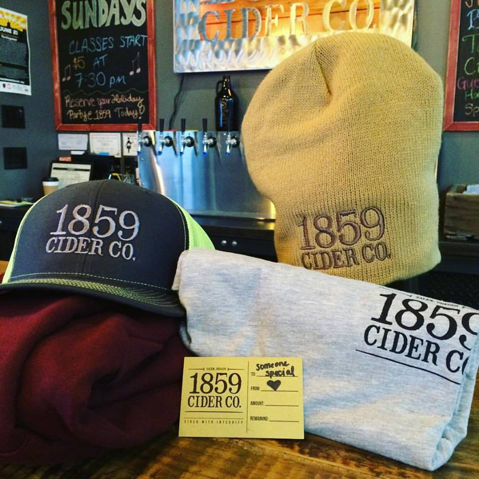 1859 Cider Swag. Treat yo' SELF! or someone else, we guess. New order of sweatshirts is on the way!