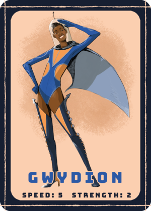 GWYDION , the scout, can move quickly through the ship. Though she can't carry as much as her teammates, she can make trips back and forth much quicker!