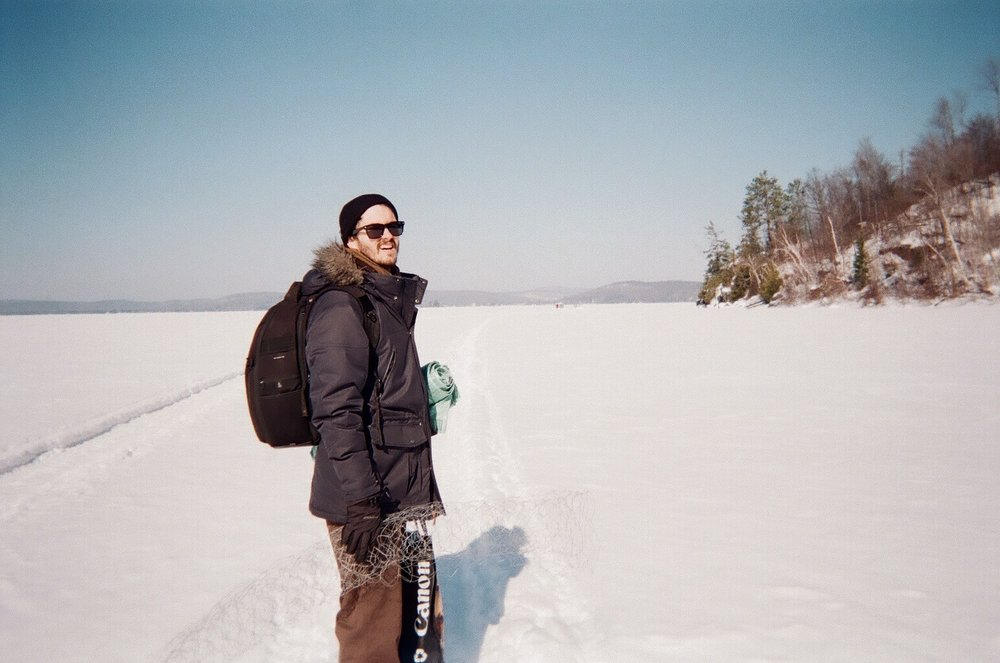 Director Richard Clifford walking the frozen lake to set location.