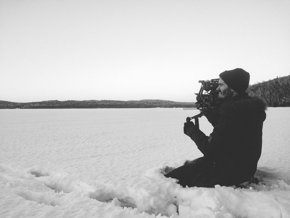 Richard shooting some b-roll on the frozen lake.