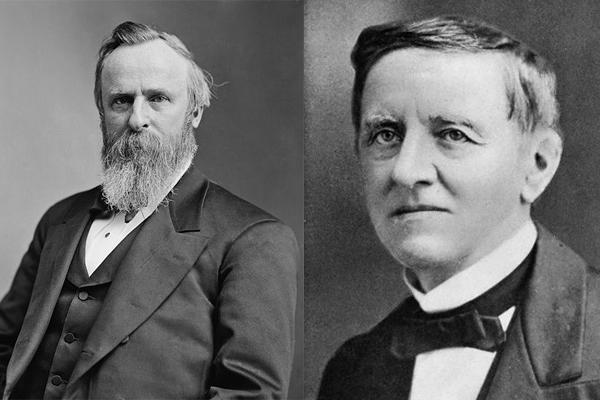 Rutherford B. Hayes (left), Samuel Tilden (right)