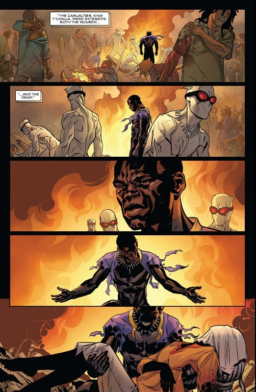 The aftermath of the terrorist explosion from Tetu with the advice of Zeke Stane. The Queen Mother lays dead in T'Challa's arms.