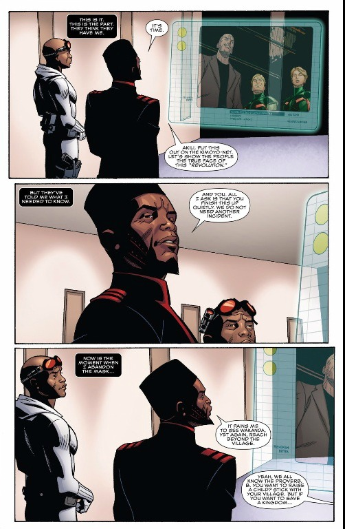 Akili and Hodari speak with Zeke Stane about the overthrow of the Panther monarchy.