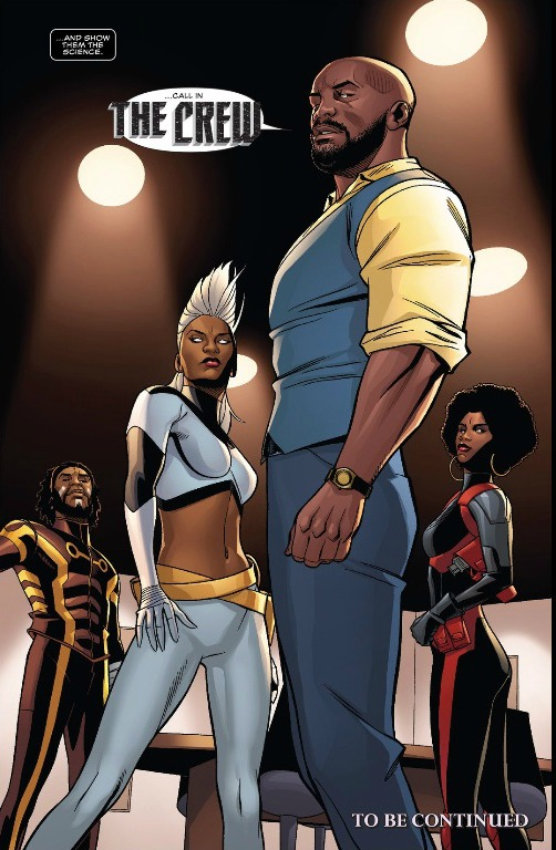 "Luke Cage, Storm, Manifold and Misty Knight are the ""Crew"" members T'Challa called in for backup."