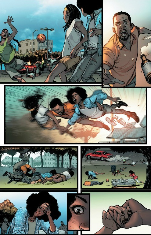 Riri sits stunned over Natalie's dead body...