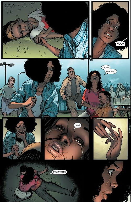 Riri Williams watches as her best friend is shot and killed, as her mother lays over the dead body of her husband and Riri's stepdad. A great example of real life events playing out in fictionalized forms.