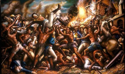 An artistic portrayal of the 1803 Battle of Vertieres