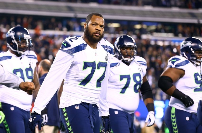 Michael Bennett pictured here with other players on the Seattle Seahawks