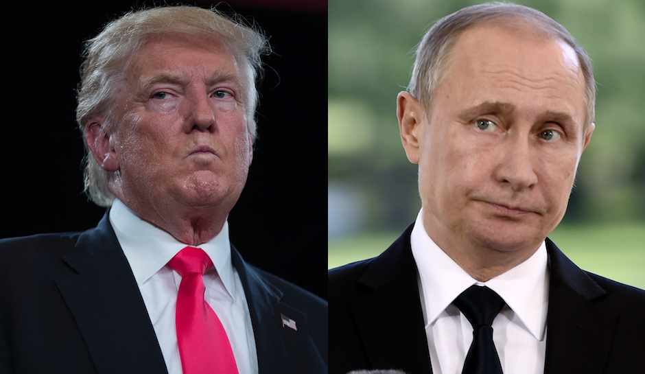 Donald Trump side-by-side with Vladimir Putin