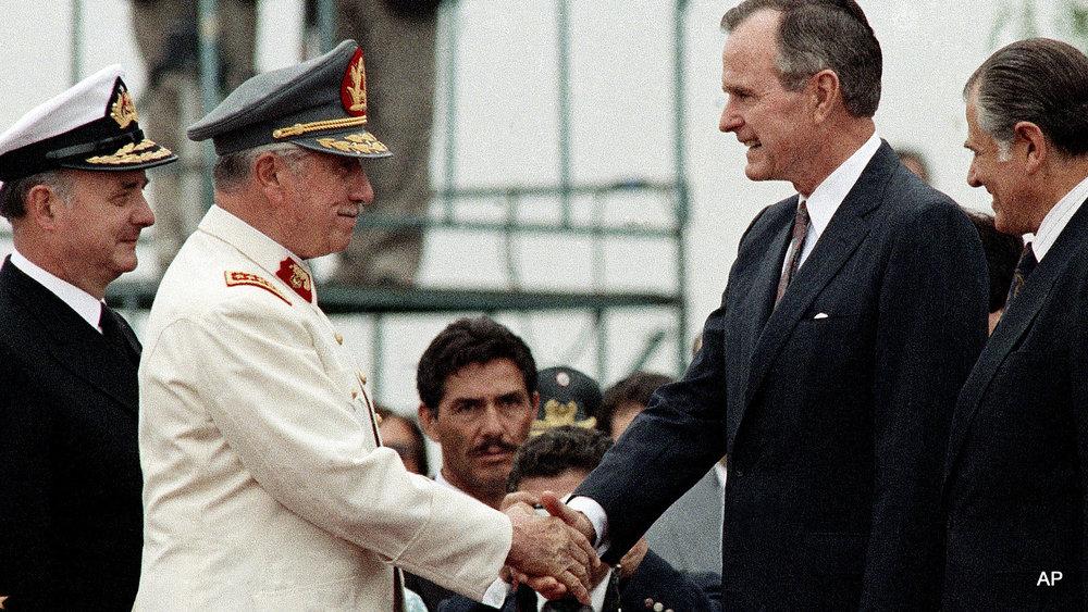 George H.W. Bush Shakes Hands with Augusto Pinochet - circa 1990