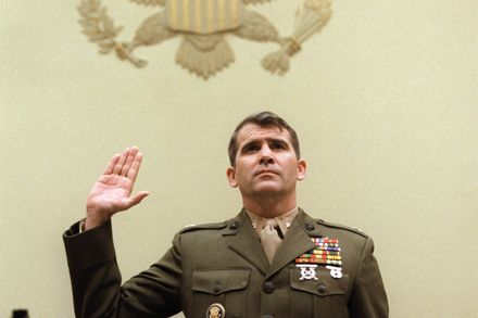Oliver North Testifies Before Congress Before Being Indicted on 16 counts - Now with the NRA by the way…