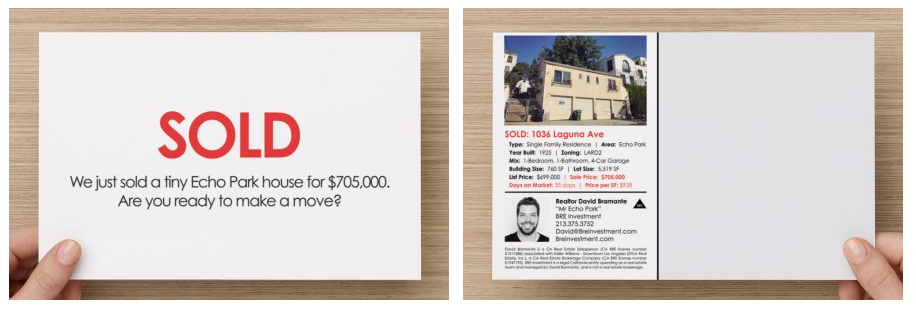 sell my echo park home - top echo park realtor david bramante - mr echo park - 1036 laguna postcard sold