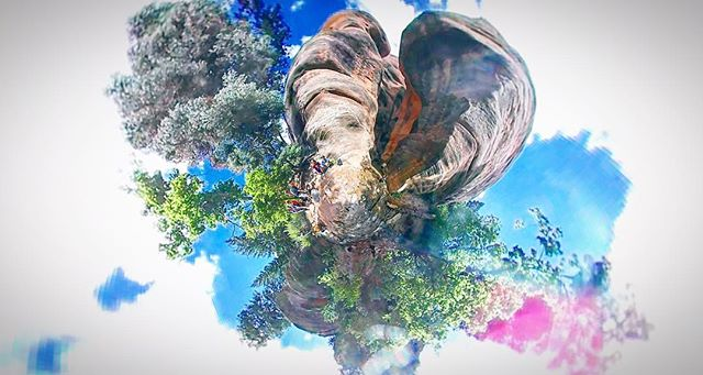 Utah sprouts trees and canyon walls like an explosion of nature in this Tiny Planet art in Kanarra Creek --- #360 #VR #tinyplanet #360video #virtualreality #ego360andvr #filmmaking #samgsung #gear360 #samsunggear360 #utah #nationalpark #kanarracreek