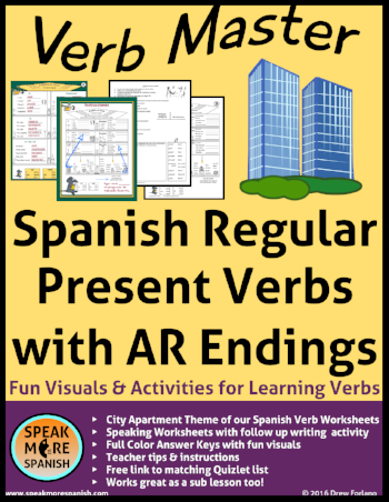 Free Verb Master Resource. Graphic Organizers and Speaking Activities for Spanish Teachers. Regular Present Tense Verbs with AR endings.