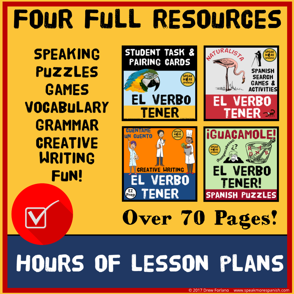 Speak More Spanish Tener BUNDLE Verbs