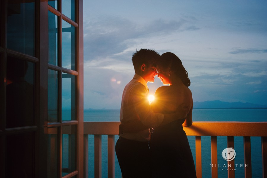 penang sunset engagement portrait