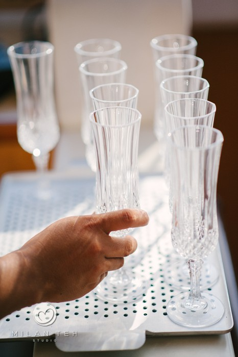 hand holding champagne flute