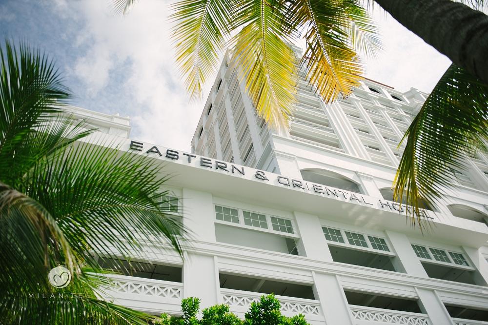 E&O hotel facade on wedding day