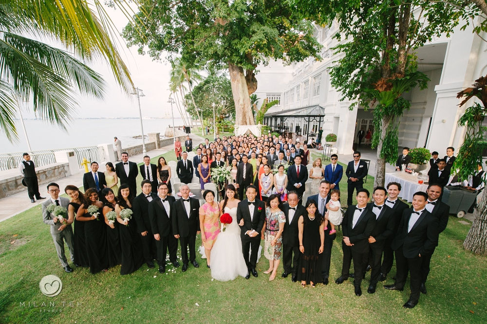big wedding group photo at e&o hotel penang