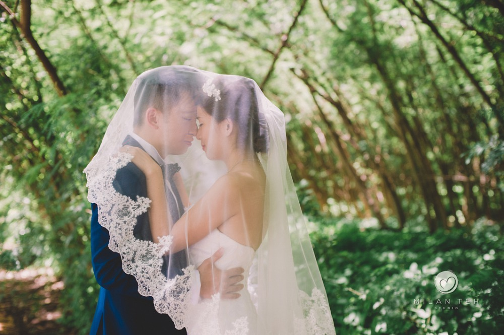 couple in veil at penang with green background
