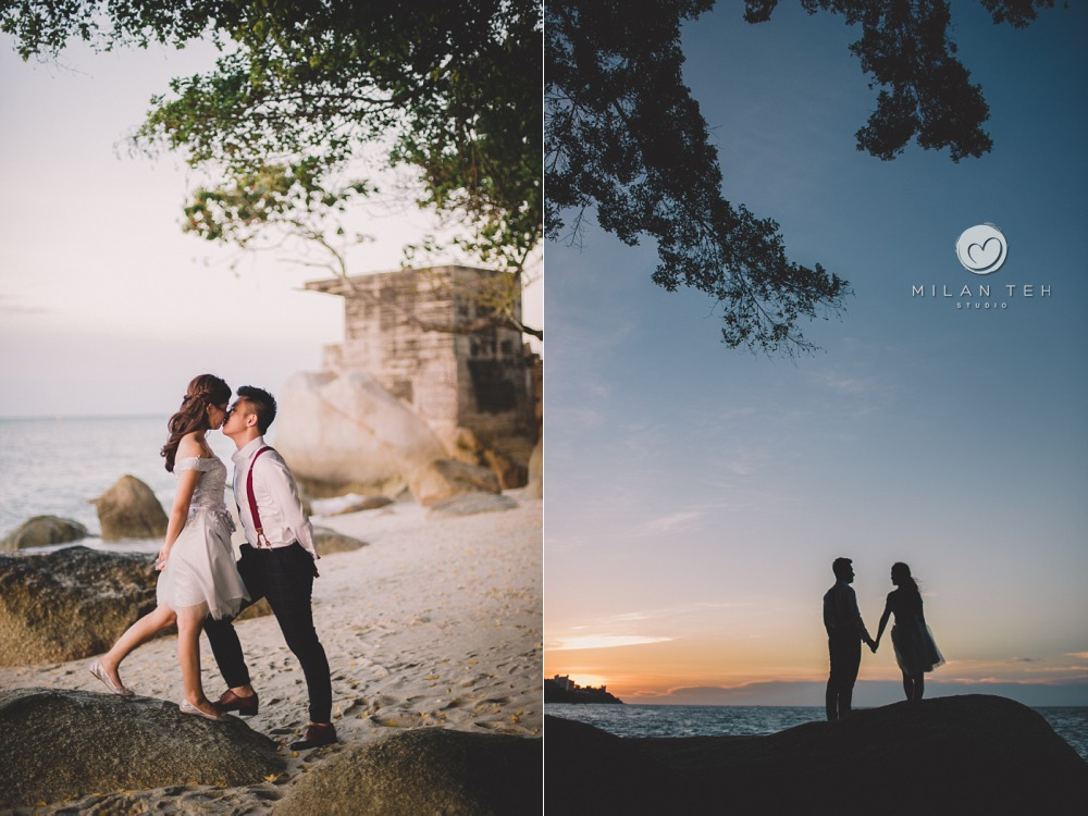 romantic casual couple portrait in penang beach sunset