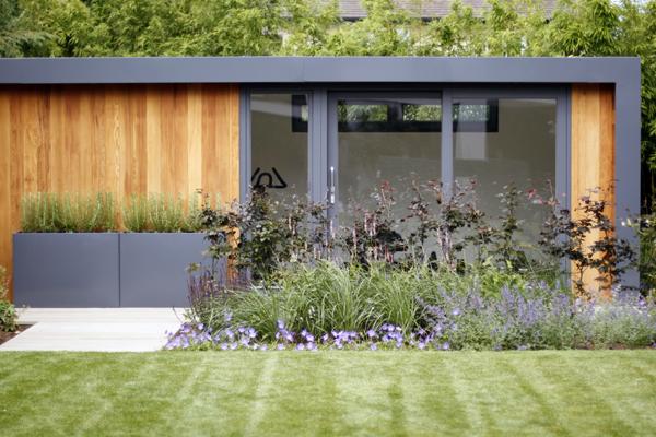 Richmond Park Garden Design - garden studio & perennial planting