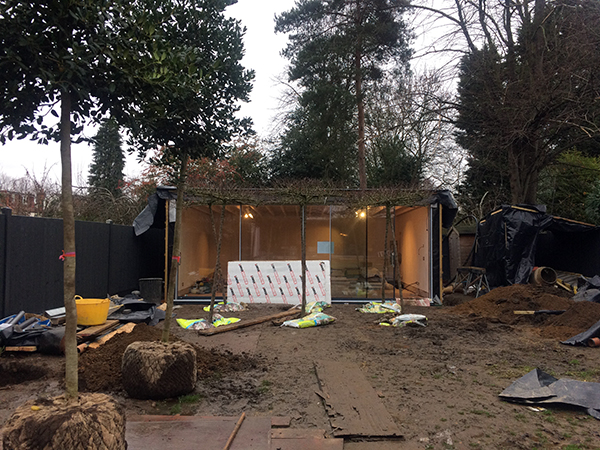Specimen trees being planted in Wanstead garden design