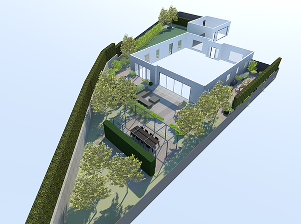 Perspective drawings for garden design in Midhurst, Surrey