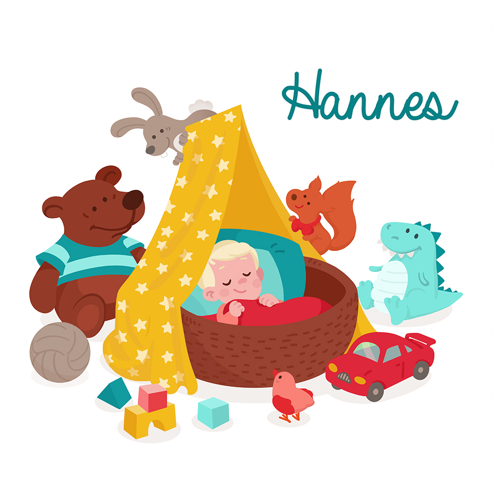 Birth announcement card for Hannes